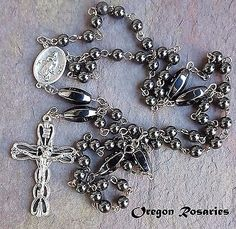 Black Hematite Rosary. Oxidized Silver  #OR1347
