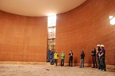 rammed earth. Wales Institute Auditorium Construction