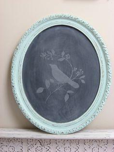 Shabby Chic Bird - chalkboard w/ turquoise frame