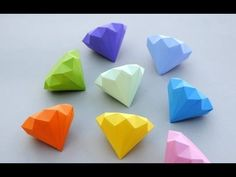 DIY origami paper diamond very easy (tutorial). Here you can learn to make origami paper daimond . Kids Crafts, Cute Crafts, Diy And Crafts, Craft Projects, Craft Ideas, Craft Tutorials, Play Ideas, Beading Tutorials, Preschool Crafts
