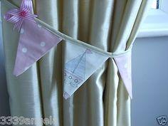 Curtain Bunting Flag Tie Backs x 2 Clarke Pink Dotty Seaside Boat Beach Hut Girl | eBay