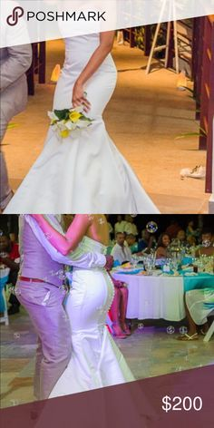 Satin mermaid wedding dress with bling.Zipper back Satin mermaid wedding dress with bling.Zipper back David's Bridal Dresses Strapless