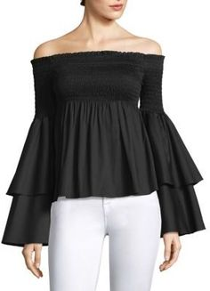 d2046f01372 Caroline Constas Appolonia Ruffle-Sleeve Smocked Blouse Black Blouse,  Ruffle Sleeve, Fit And