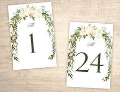 Rose Garden Printable Table Numbers design No. 202 - floral table numbers 1 - 24 for wedding, bridal shower, baby shower DIY