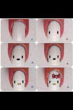 Cute hello kitty nail Tutorial :)