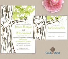 Oak wedding invitation printable | Woodland wedding invitation DIY | Forest wedding | Carved heart tree invite