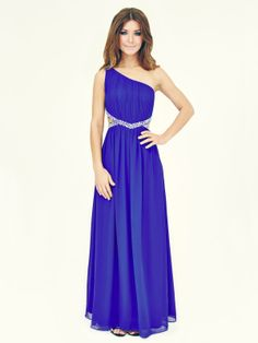 Cut Out Royal Blue Prom Dress