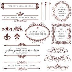 Wedding Calligraphy Clip Art Vintage Clipart DIY Bridal Shower Card Design Scrapbook Embellishment BROWN Digital Ornate Frame Download 10432. $6.50, via Etsy.