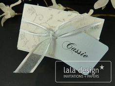Silver glitter with ribbon place card