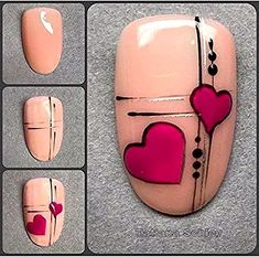 - Nail Art - Reposted from - Hallo und einen Mega Start in die neue Woche. Reposted from - Hello and a mega start to the new week. Today I want to show you another step by step . Diy Valentine's Nail Art, Diy Valentine's Nails, Neon Nail Art, Manicure, Valentine's Day Nail Designs, Nail Art Designs Videos, Heart Nail Art, Heart Nails, Gel Zehen