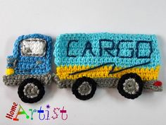 Crochet Applique cargo truck