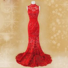 Red lace cheongsam dress SCL19 from efushop