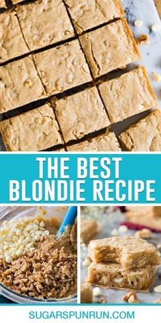 This is the best chewy blondie recipe! Buttery, soft, and simple to make (no mixer required!) I think you're going to really love these! Easy Gluten Free Desserts, Vegan Recipes Easy, Easy Desserts, Pavlova, Tart Recipes, Baking Recipes, Chewy Blondies Recipe, Cheesecake Oreo, Blondie Recipe