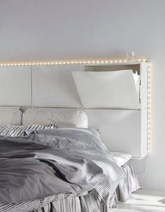 Des rangements à chaussures Ikea détournés en tête de lit