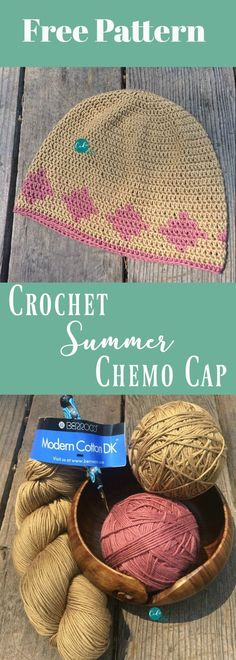 Free crochet pattern for a summer chemo cap. Berroco Modern Cotton DK works up perfectly for a lightweight but full coverage crochet beanie. Crochet Beanie Pattern, Crochet Cap, Crochet Gifts, Free Crochet, Crochet Patterns, Hat Patterns, Irish Crochet, Crochet Ideas, Crocheted Hats