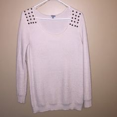 Low scoop neck sweater Cute & comfortable low scoop neck cream color sweater with studs Charlotte Russe Sweaters Crew & Scoop Necks