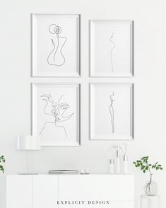 A Line Drawing Set of Printable Minimalist Kiss, Woman Body Print Bundle of Four Continuous Female Face Wall Art, Feminine Prints. - Custom order, free if you want to exchange one or two pieces of art in a set. You can print from an - Tanz Poster, Back Art, Inspirational Wall Art, Framed Wall Art, Female Bodies, Female Faces, Printable Art, Line Art, Gallery Wall