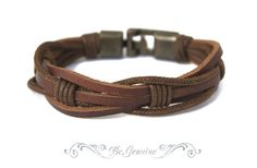 "Men Leather bracelet - Rustic-Brown- ""Raw Leather"" multi strand - unisex"