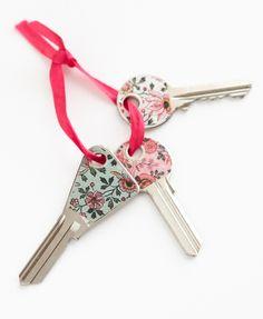 clés décorées avec du masking tape