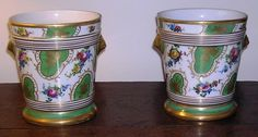 Pair Old Paris Flower Pots With Bases Green Gold Floral Late 19th Century #OldParis