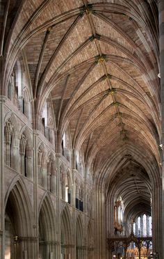 The Nave, Worcester Cathedral, England.  You can tell the age of different sections by the color of the stone.  Built in sections between 680 and 1374.  Magnificent architecture.