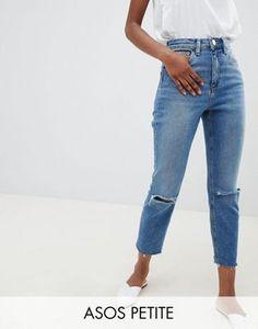 DESIGN – Petite – Farleigh – Blå stentvättade jeans i
