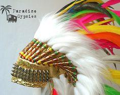 Paradis rose & Turquoise Carnaval plume coiffe par ParadiseGypsies