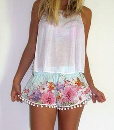 Pom Pom Shorts - Pale Blue Flower Print with Large White Pom Pom Trim - 1970s inspired high waisted gym shorts