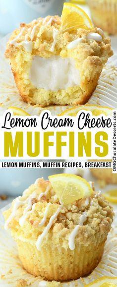 Muffin Recipes, Baking Recipes, Dessert Recipes, Lemon Recipes Easy, Cake Recipes, Brunch Recipes, Yummy Snacks, Delicious Desserts, Cream Cheese Muffins