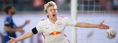 Torschütze Emil Forsberg 2.Liga/33 Sptg. Leizig-KSC 2:0-RB Leipzig steigt in die Bundesliga auf...