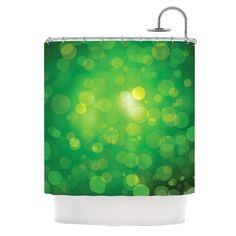 "KESS Original ""Radioactive"" Green Bokeh Shower Curtain - KESS InHouse"