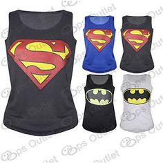 Ladies Batman Superman Womens Superwoman Tank Top Girls Comic Hero T Shirt Vest