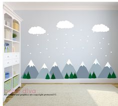 Mountain Wall Decals, Wall Decals Nursery, Baby Wall Decal, Kids Wall Decals, Wall Decal Nursery, Nursery Wall Decal, REMOVABLE and REUSABLE by BebeDivaBoutique on Etsy https://www.etsy.com/listing/260254043/mountain-wall-decals-wall-decals-nursery