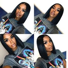 Silky Straight Synthetic Lace front Wig Middle Part Wigs
