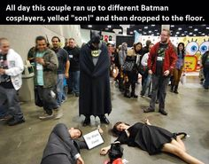 A whole convention of Sad Batmans. When I get to final go to comic-con this is what I am doing!