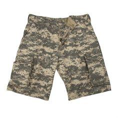Vintage Paratrooper Style Cargo Shorts, ACU Digital Camuflage