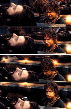 The Hobbit : the Battle of the Five Armies - Bilbo with Thorin's corpse #cry #moving #stunningscene
