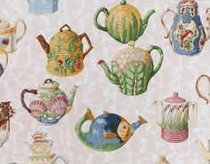 Pierre Frey Tea Time Fabric with loads of Majolica Kitchen Wallpaper, Home Wallpaper, Fabric Wallpaper, Drapery Fabric, Linen Fabric, Cotton Fabric, Textile Patterns, Textile Design, Pierre Frey Fabric