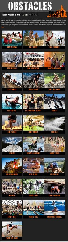 Obstacles you'll see in the Tough Mudder event series.
