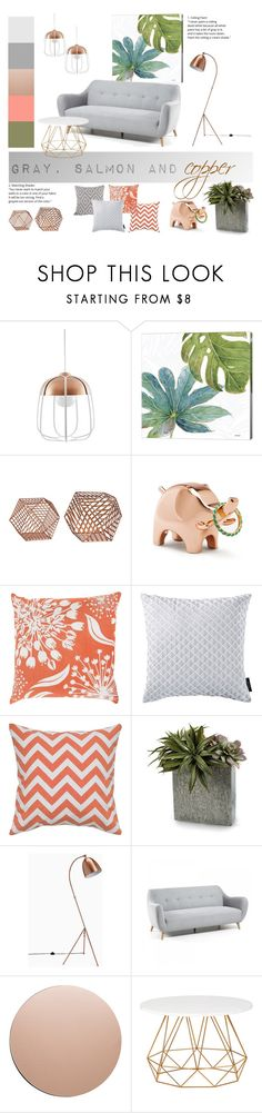 """""""gray, salmon and copper"""" by levai-magdolna ❤ liked on Polyvore featuring interior, interiors, interior design, home, home decor, interior decorating, Incipit, Umbra, Décor 140 and Christian Siriano"""