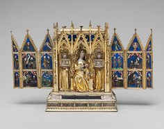 Reliquary Shrine, second quarter of 14th century  Attributed to Jean de Touyl (French, died 1349)  Made in Paris  Gilt-silver, translucent enamel, paint