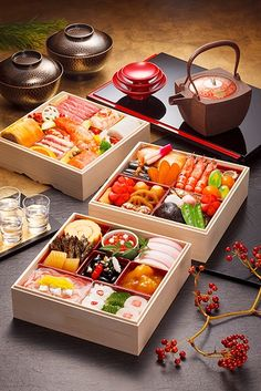 A beautiful meal to ring in the New Year with. Osechi, Japanese New Year's Cuisine|おせち料理 Japanese Dishes, Japanese Food, Japanese Lunch, Traditional Japanese, Japanese Buffet, Think Food, Love Food, Little Lunch, Food Platters