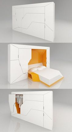 Boxetti Private by Rolands Landsbergs. A modular bedroom that includes a double bed, a bedside table, and a wardrobe. Best of all, it can be controlled with a remote control. The full Boxetti collection also includes a foldable kitchen, a living room, and a study desk. http://www.hongkiat.com/blog/creative-furniture-designs/