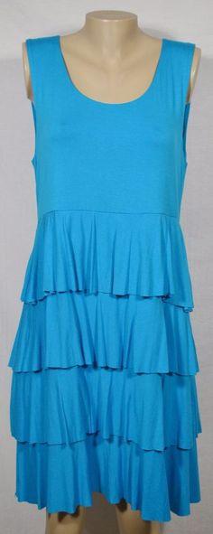 STYLE & CO Cyan Blue Sleeveless Stretch Jersey Dress XL Tiered Ruffle Skirt  #StyleCo #Tiered #Casual