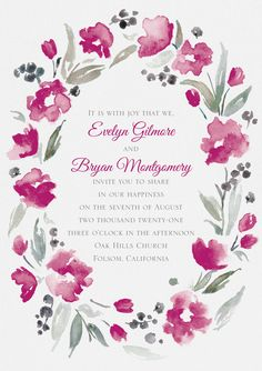 This gorgeous watercolor wreath design will highlight your information in the most beautiful way. Change the color of the flowers to personalize it! Wreath Watercolor, Watercolor Wedding, Highlight, Most Beautiful, Wedding Invitations, Joy, Change, Wreaths, Flowers