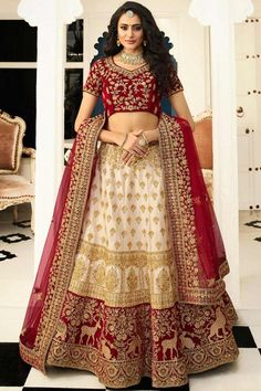 Buy party wear lehenga choli online for women. Grab this art silk embroidered, lace, resham and zari work lehenga choli for bridal, reception and wedding. Lehenga Choli With Price, Bridal Lehenga Choli, Indian Lehenga, Silk Lehenga, Anarkali, Lehenga Wedding, Lehenga Blouse, Rohit Bal, Indian Bridal Outfits