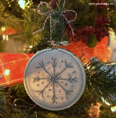 snowflake ornament in tree