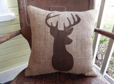 Hey, I found this really awesome Etsy listing at https://www.etsy.com/listing/156272952/burlap-pillow-rustic-country-deer-throw