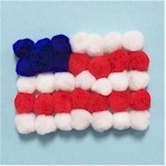 Pom Pom Flag Craft is a good craft for the littlest crafters on Flag Day. www.freekidscrafts.com