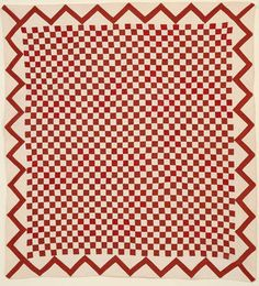 One Patch Quilt with ZigZag Border; Ca. 1860; Pa.